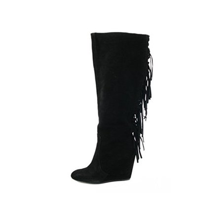 Carlos Falchi Womens Zoe Closed Toe Knee High Platform - Falchi Leather