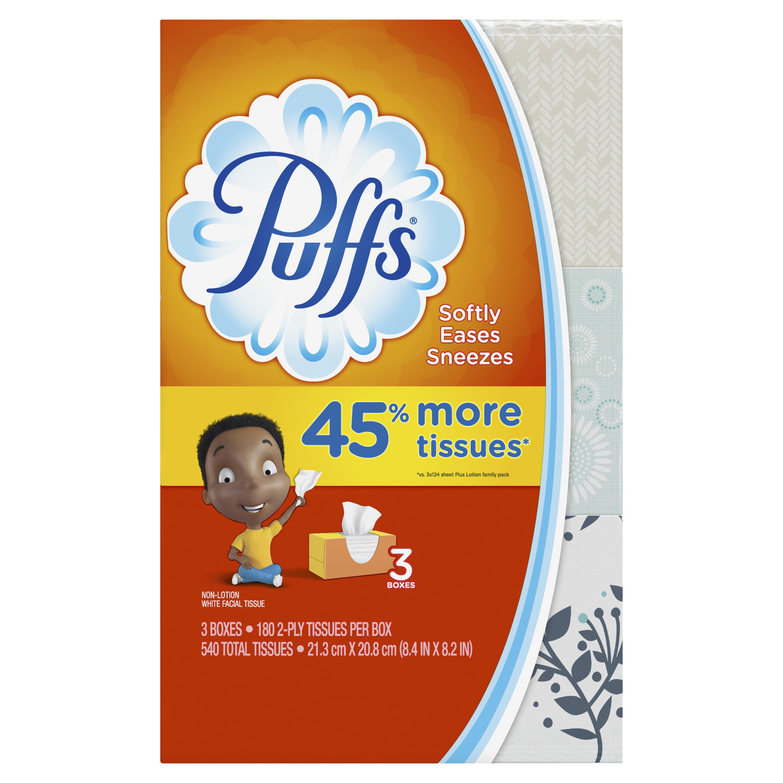 Puffs, Everyday Non-Lotion Facial Tissue, 3 Family Boxes, 180 Facial Tissues per box