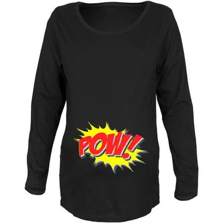 POW Comic Book Super Hero Black Maternity Soft Long Sleeve T-Shirt (Plus Plow)