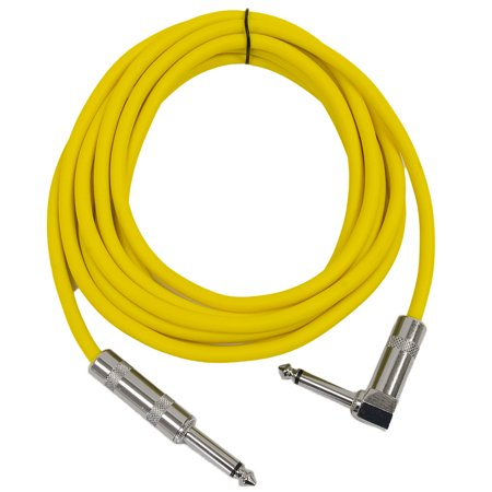 "Seismic Audio - 10' Yellow Guitar Cable TS 1/4"" to Right Angle - Instrument Cord - SAGC10R-Yellow"