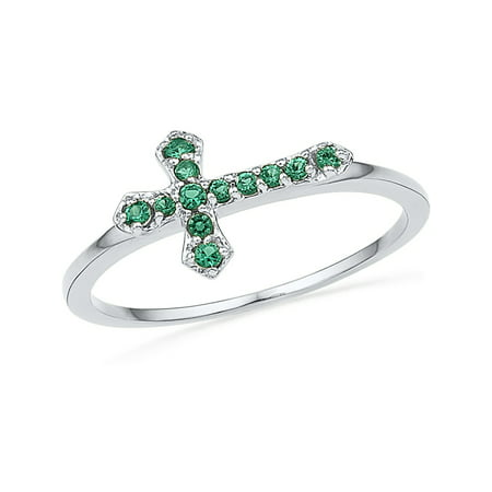 Lab Created Cushion Green Emerald 1/8 Carat (ctw) Cross Ring in Sterling Silver (Lab Created Green)