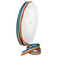 Morex Ribbon, Grosgrain Stripes Ribbon, 3/8 in x 20 yd, Rainbow