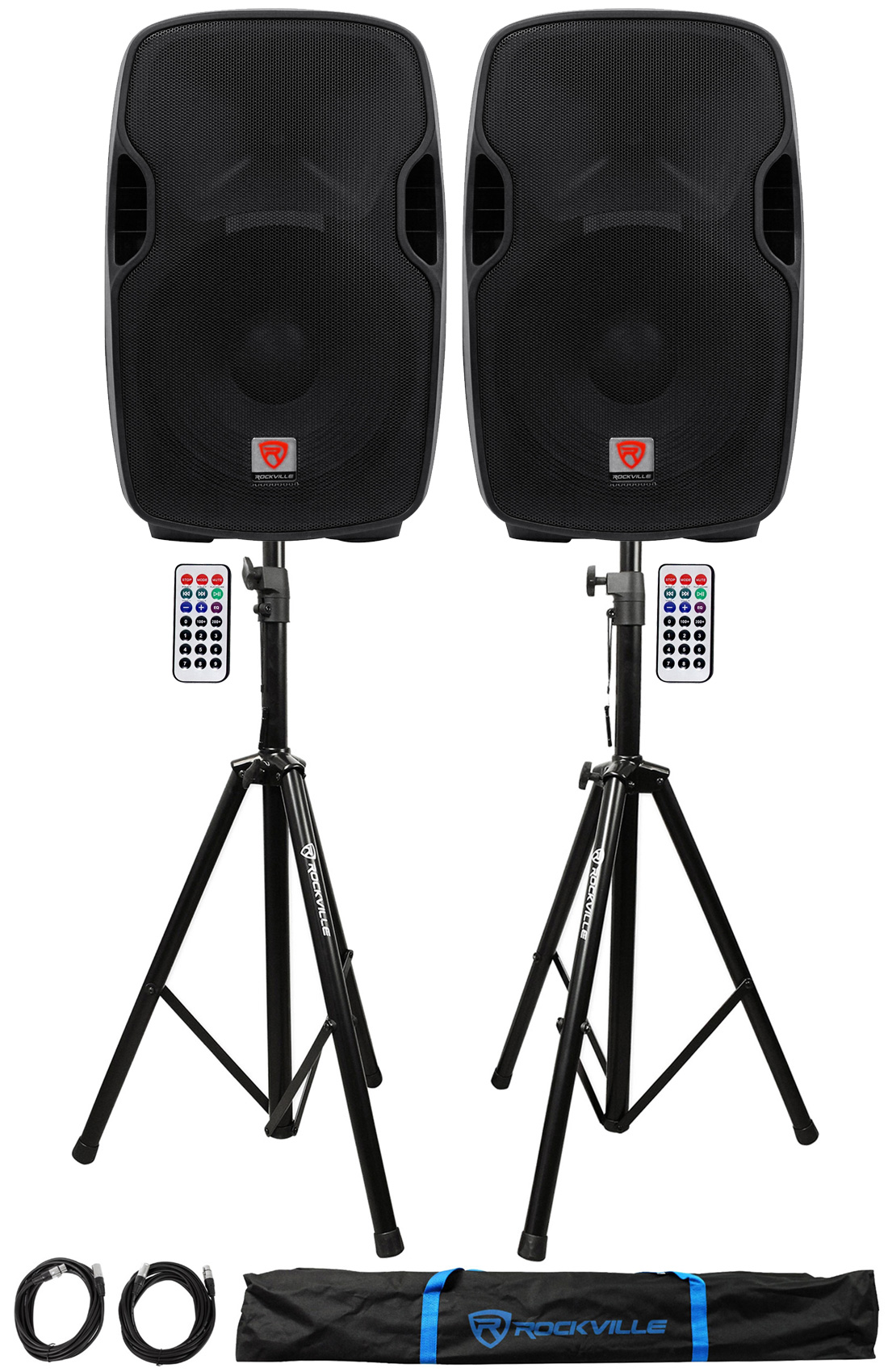 "2) Rockville BPA15 15"" Powered 800W DJ PA Speakers w Bluetooth+Stands+Cables+Bag by"