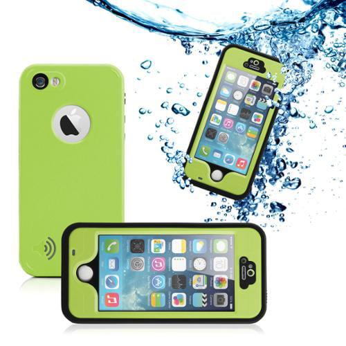 GEARONIC Durable Waterproof Shockproof Snow DirtProof Fingerprint Scanner Full Case Cover for Apple iPhone SE & 5 5S - Green