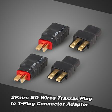 2Pairs NO Wires Traxxas Plug Female to T-Plug Male and Traxxas Male to T-Plug Female Connector Adapter