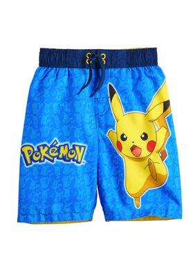 Pokémon Big Boys' Pikachu Board Short Swim Trunks Swimwear - Blue