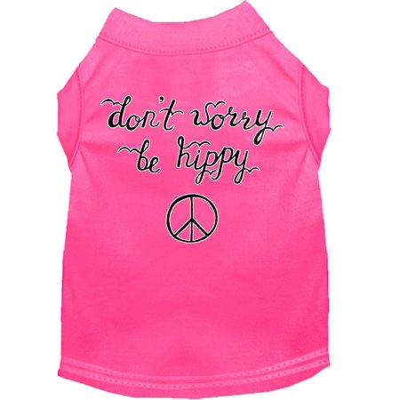 Be Hippy Screen Print Dog Shirt Bright Pink Xs 8