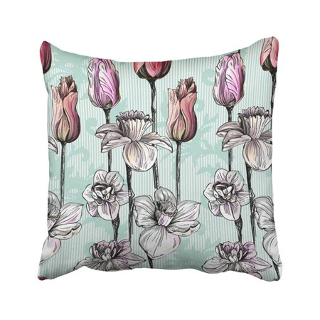 BPBOP Summer Flowers With Graphic Daffodilly Narcissus Lily Tulips With Baroque Swirls Pillowcase Pillow Cover 20x20 inches