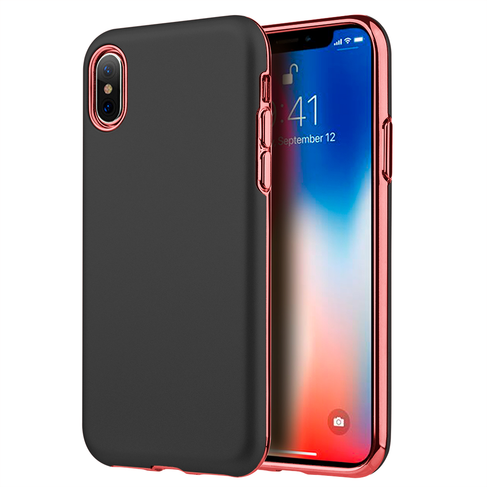 Luxmo Case for Cell Phone Cases Cover For iPhone X Sublime Dual Hybrid Cases With Black Rubberized Pc Back Plate + Red Electroplated Tpu