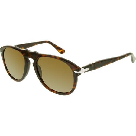 Men's Polarized PO0649-24/57-54 Brown Aviator Sunglasses