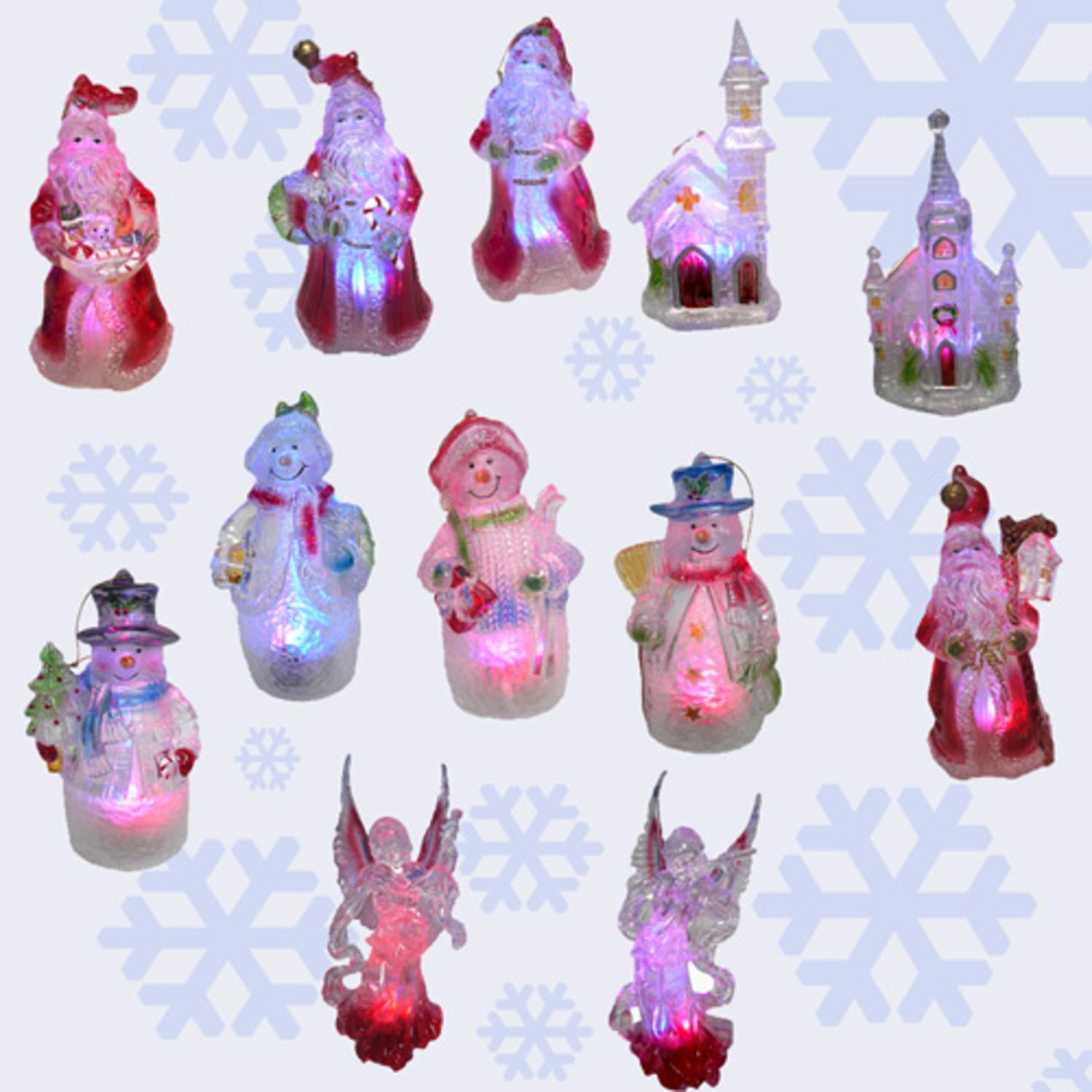 Set Of 12 Lighted LED Color Changing Christmas Ornaments