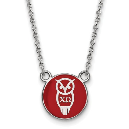 Solid 925 Sterling Silver Official Enamel Chi Omega Small Enl Pend Pendant Necklace Charm Chain - with Secure Lobster Lock Clasp 18