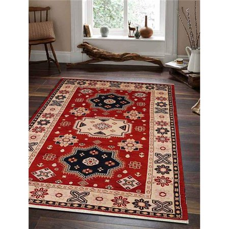 5 X 8 Ft Kazak Hand Knotted Persian Afghan Wool Silk Area Rug Red Cream