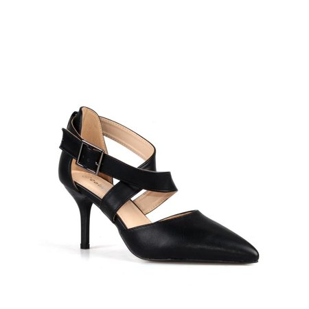 Calico Kiki Criss cross Adjustable Ankle Strap Women's Pumps in Black Black Ankle Strap Pumps