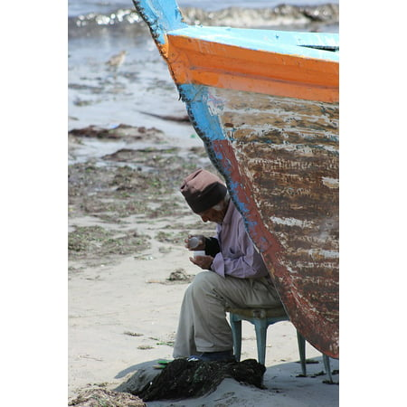 LAMINATED POSTER Man Fishing Sea Old Man Boat Old Fisher Poster Print 24 x (Old Man And The Sea Boat Name)