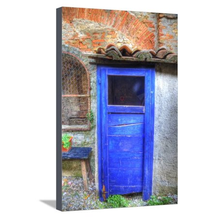 Italy, Monterigioni, Old Hand Painted Doors in Back Alley of Town. Stretched Canvas Print Wall Art By Terry Eggers - Hand Painted Italian