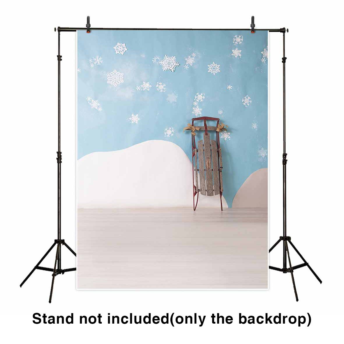 HelloDecor Polyester Fabric 5x7ft Baby Room Backdrop White Snowflakes and Mountain on Blue wall grungy Sled Children Background for Photography or Decoration