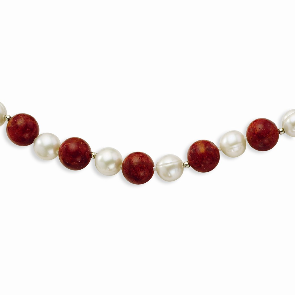 Sterling Silver Freshwater Cultured Pearl & Dyed Red Coral Bracelet by Goldia