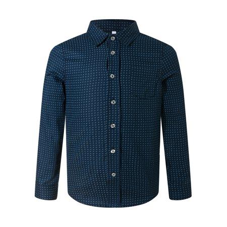 ARAR Boy's Long Sleeve Cotton Polka Dot Dress Shirt, Dark Blue 4T Cotton Dotted Pattern Dress Shirt