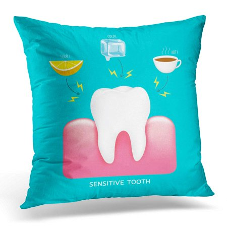 ECCOT Sensitive Tooth to Cold Sour and Hot Dental Care Concept Info Graphic of Lemon Ice and Drink on Blue Pillowcase Pillow Cover Cushion Case 16x16 inch - Halloween Alcoholic Drinks With Dry Ice