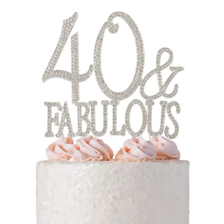 40 and Fabulous Rhinestone Cake Topper   Premium Sparkly Crystal Diamond Bling Gems   40th Birthday Party Decoration Ideas   Quality Metal Alloy   Perfect Keepsake (40&Fab Silver) 40&Fab Silver