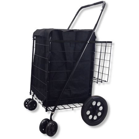 Folding Shopping Cart Double Basket With Jumbo Swivel Wheel  360 Degree Easy Rotation  Free Liner And Net  Black With Black Liner