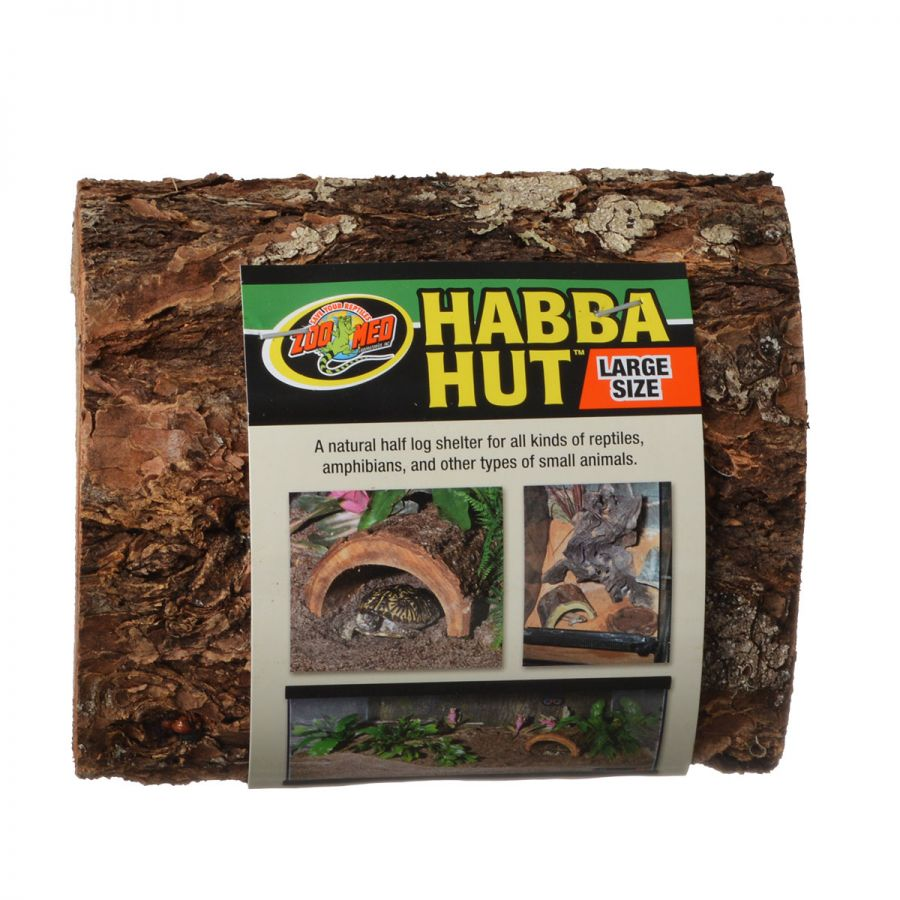 Zoo Med Habba Hut Natural Half Log with Bark Shelter Large (7L x 6.5W x 3.5H) - Pack of 3