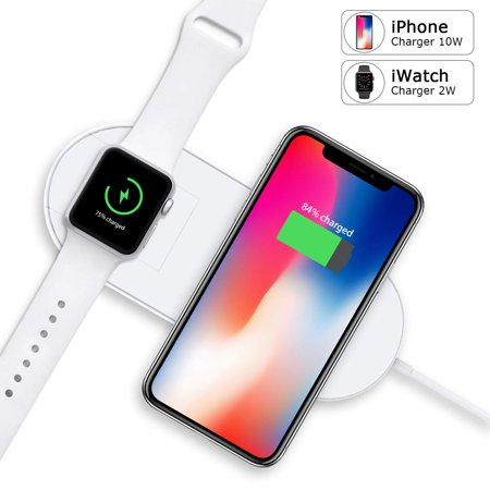 quality design 886e3 c572d Watch Charger 2 in 1 Qi Fast Wireless Charger Station compatible with  iWatch Series 4/3/2/1,Samsung Smart Watch& iPhone 8/X/XS/XR, Samsung and  All Qi ...