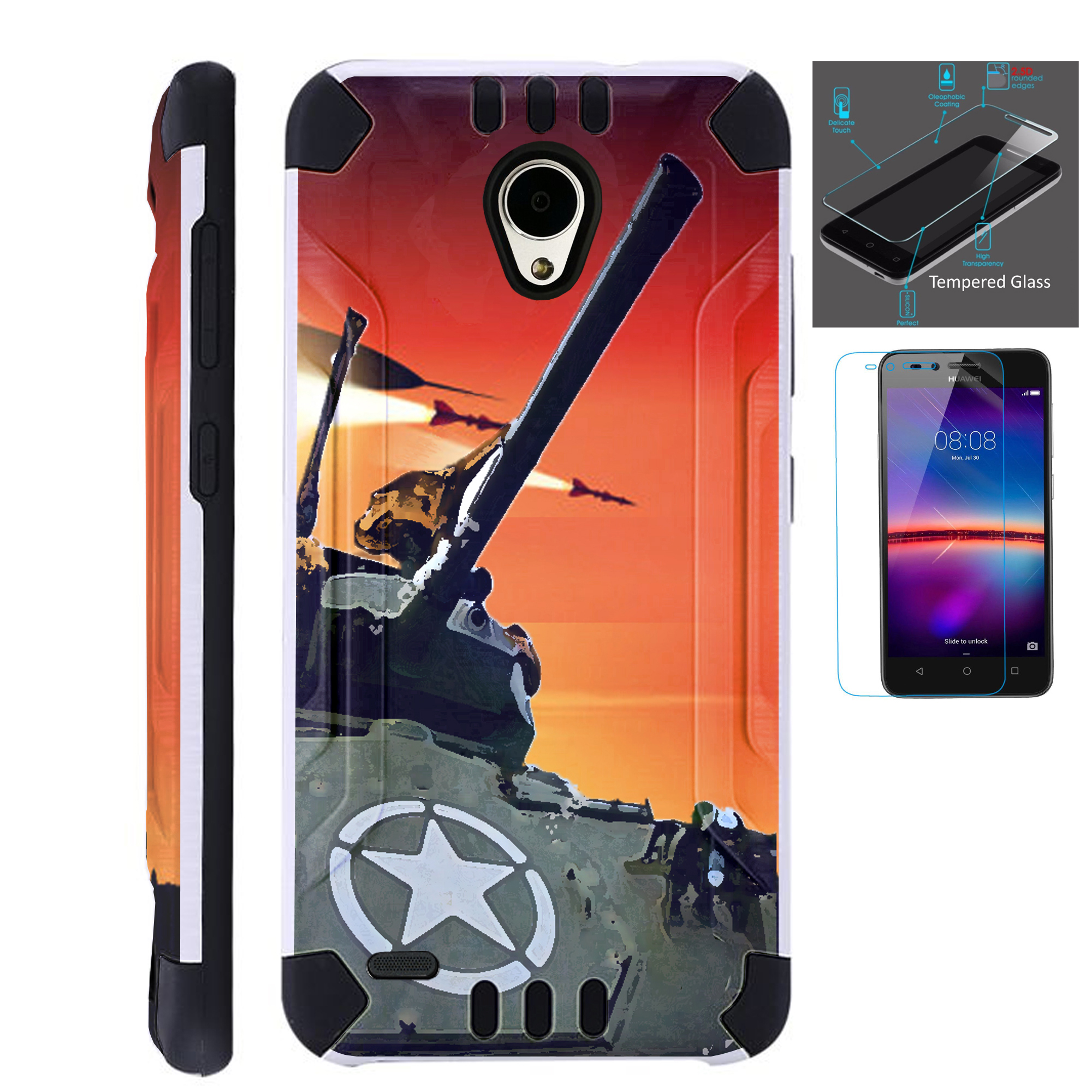 For Cricket Wave (2018) Case + Tempered Glass Brushed Metal Texture Hybrid TPU KombatGuard Phone Cover (War Tank)