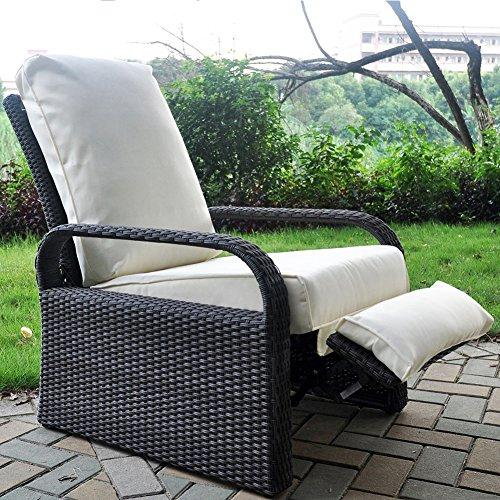 ... Outdoor Resin Wicker Patio Recliner Chair With Cushions, Patio Furniture  Auto Adjustable Rattan Sofa,