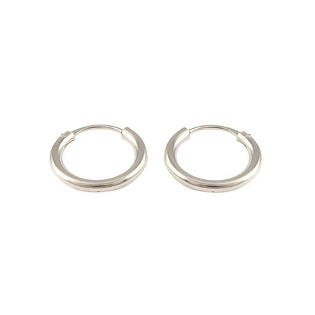 Sterling Silver Hammered Circle Earrings - iJewelry2 Continuous Endless Hoop Round Circle Small Sterling Silver Earrings 10mm