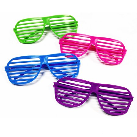 Novelty Place [Neon Color] 80's Party Shutter Glasses Slotted Shading Toy Sunglasses for Kids & Adults - 4 Colors (12 Pairs)