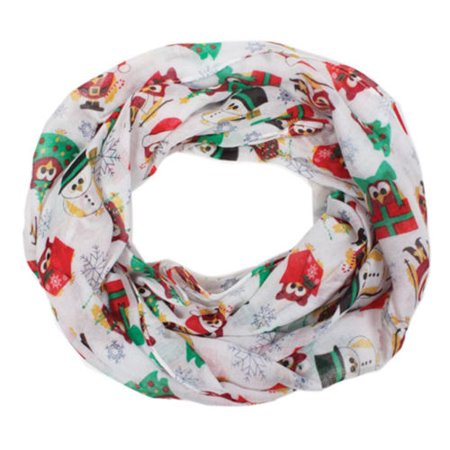 David and Young Women's Holiday Christmas Owl Infinity Loop Scarf, White](Holiday Scarf)
