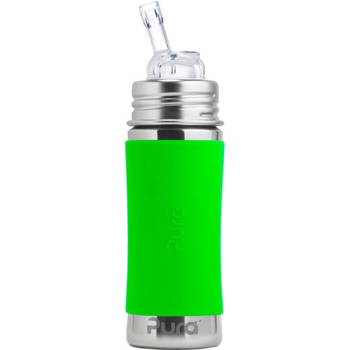 Pura Kiki 11 Oz / 325 Ml Stainless Steel Bottle With Silicone Straw & Sleeve, Green (plastic Free, Nontoxic Certified, Bpa Free)