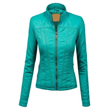 MBJ WJC1005 Womens Faux Leather Zip Up Biker Jacket with Inner Fleece XS TURQUOISE