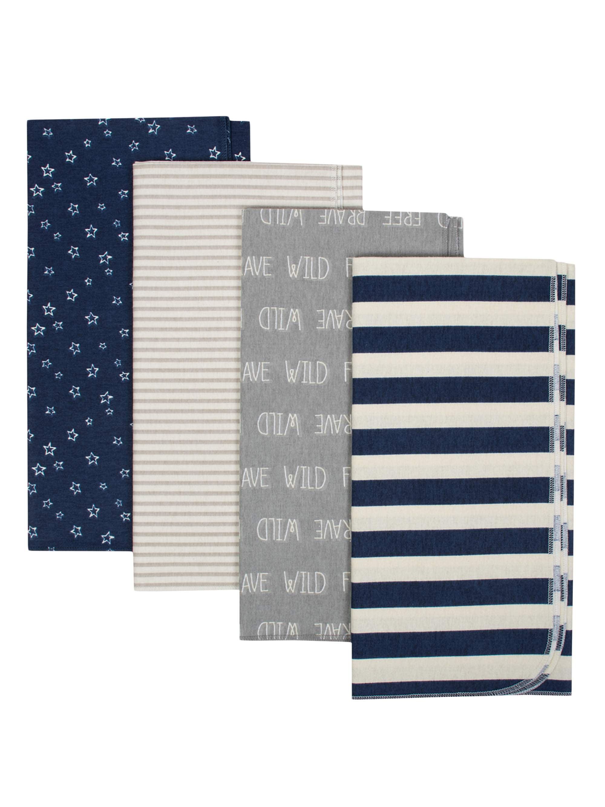 Gerber Organic Cotton Flannel Receiving Blankets, 4pk (Baby Boys)