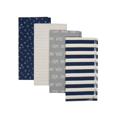 Gerber Organic Cotton Flannel Receiving Blankets, 4pk (Baby Boys)