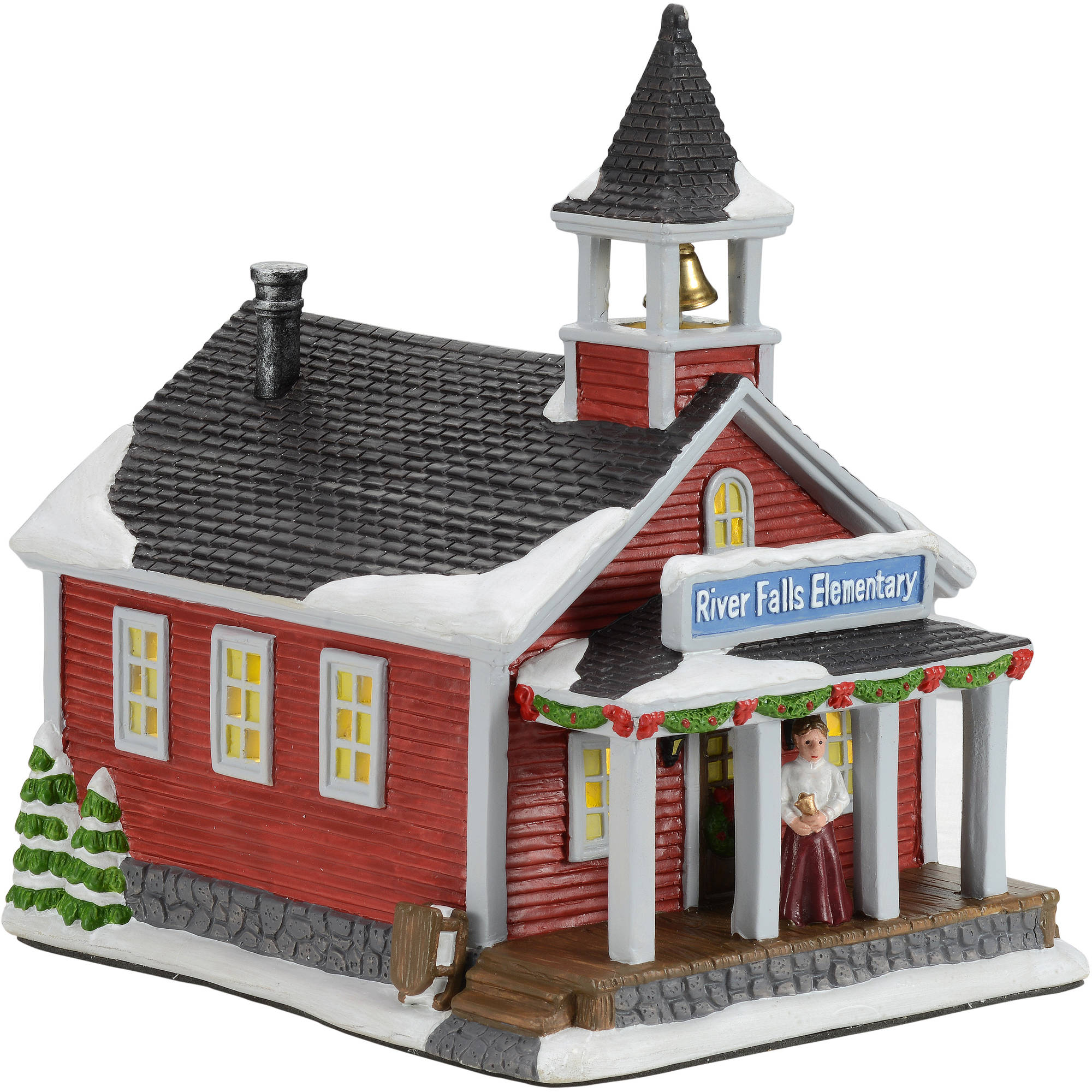 Christmas Village Houses.Holiday Time 8 5 Olde School House Christmas Village