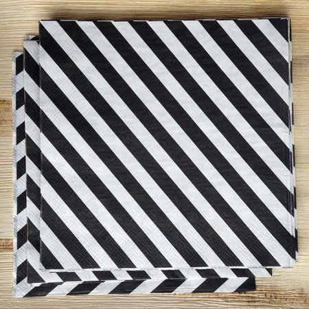 Black And White Striped Party Supplies (Efavormart Diagonal Striped Restaurant Party Beverage Paper Napkins - Black and White - 20)