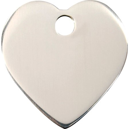 Custom Engraved Stainless Steel Dog ID Tag - Heart (Medium), Free engraving By Red Dingo From (Red Dingo Tags)