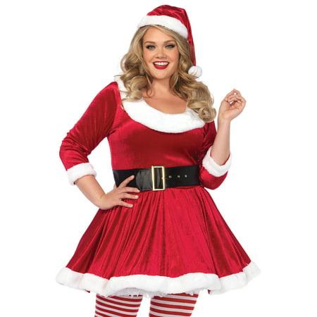 Santa Sweetie Costume Velvet Dress, Belt and Santa Hat, 3X/4X Plus Size, Red/White - Costume Belts