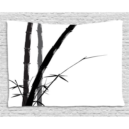 Exotic Tapestry, Feng Shui Watercolor Japanese Asian Ink Art Boho Bamboo Branches, Wall Hanging for Bedroom Living Room Dorm Decor, 60W X 40L Inches, Charcoal Grey Black White, by
