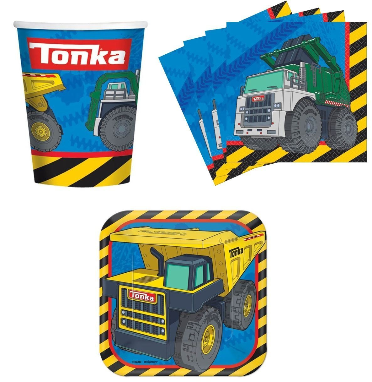 Tonka Construction Trucks Birthday Party Supplies Set Plates Napkins Cups Kit for 16 by