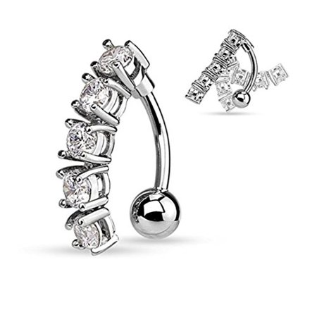 5 CZ Vertical Drop Reverse Belly Button Ring Surgical Steel 14g Top Down Navel Ring (Silver Tone) ()