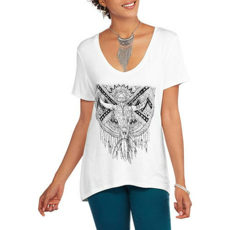 Project Karma Women's Americana Hi-Low Graphic T-Shirt