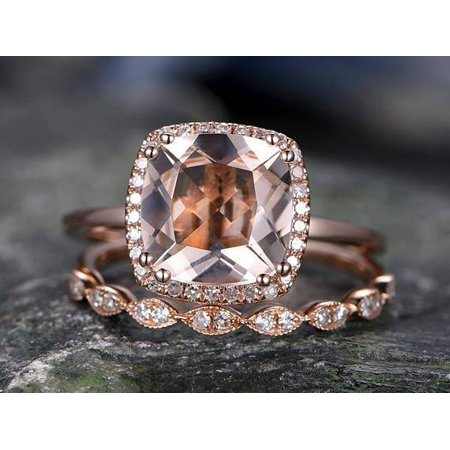 2fb0e63b01744 Huge 3 Carat Cushion Cut Morganite and Diamond Art Deco Wedding Ring Set in  Rose Gold