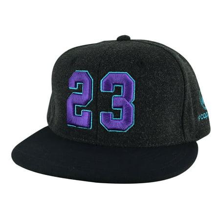 Player Number #23 Melton Snapback Hat Cap Air Jordan Lebron Black Purple Teal