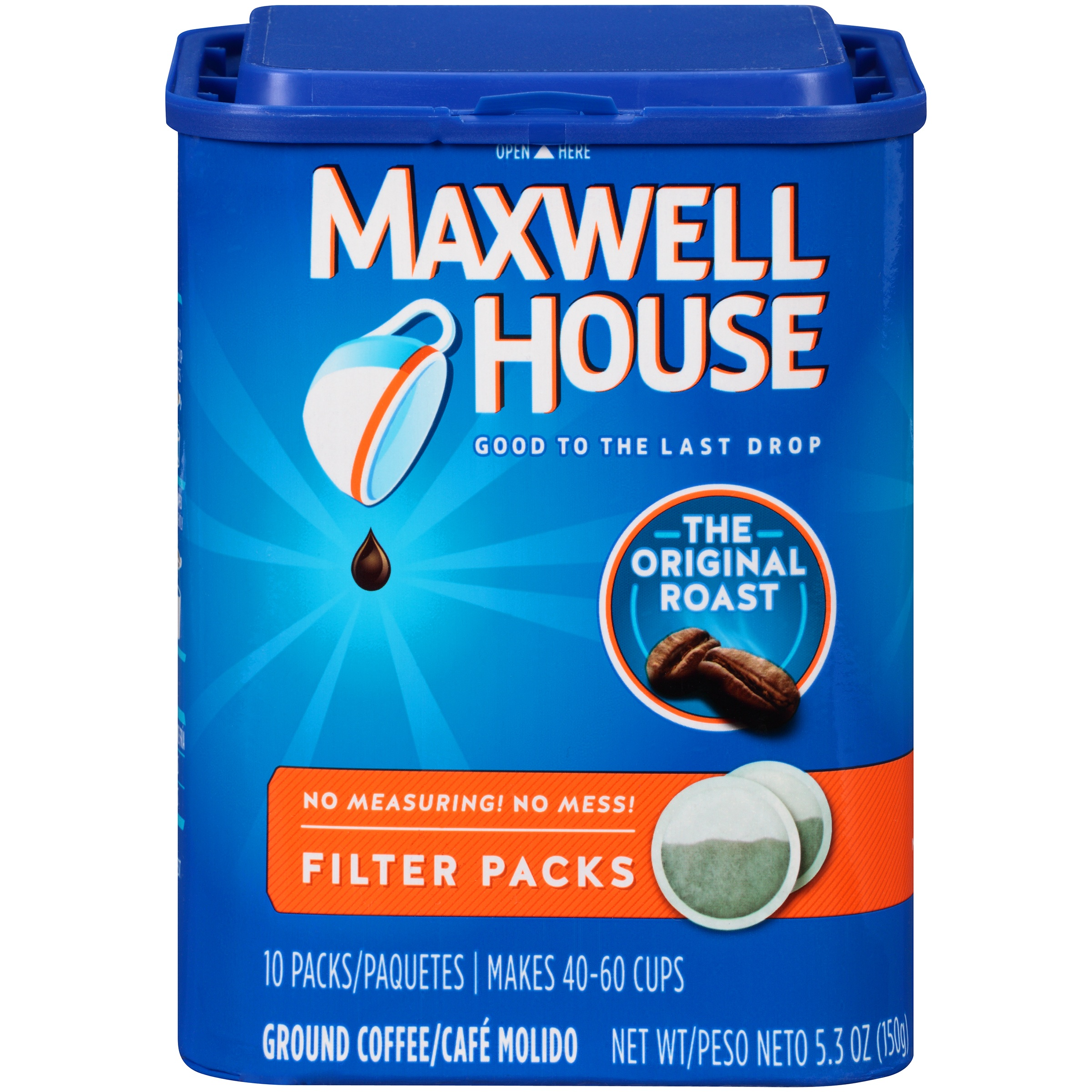 Maxwell House Original Roast Ground Coffee Filter Packs 10 ct Tub