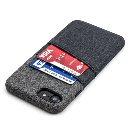 Leather Twill (Luxe iPhone 8 and 7 Card Case by Dockem- Minimalist Synthetic Leather Wallet Case with UltraGrip Twill Canvas Styling, Slim Professional Executive Cover with 2 Card Holder Slots, Black and Grey )