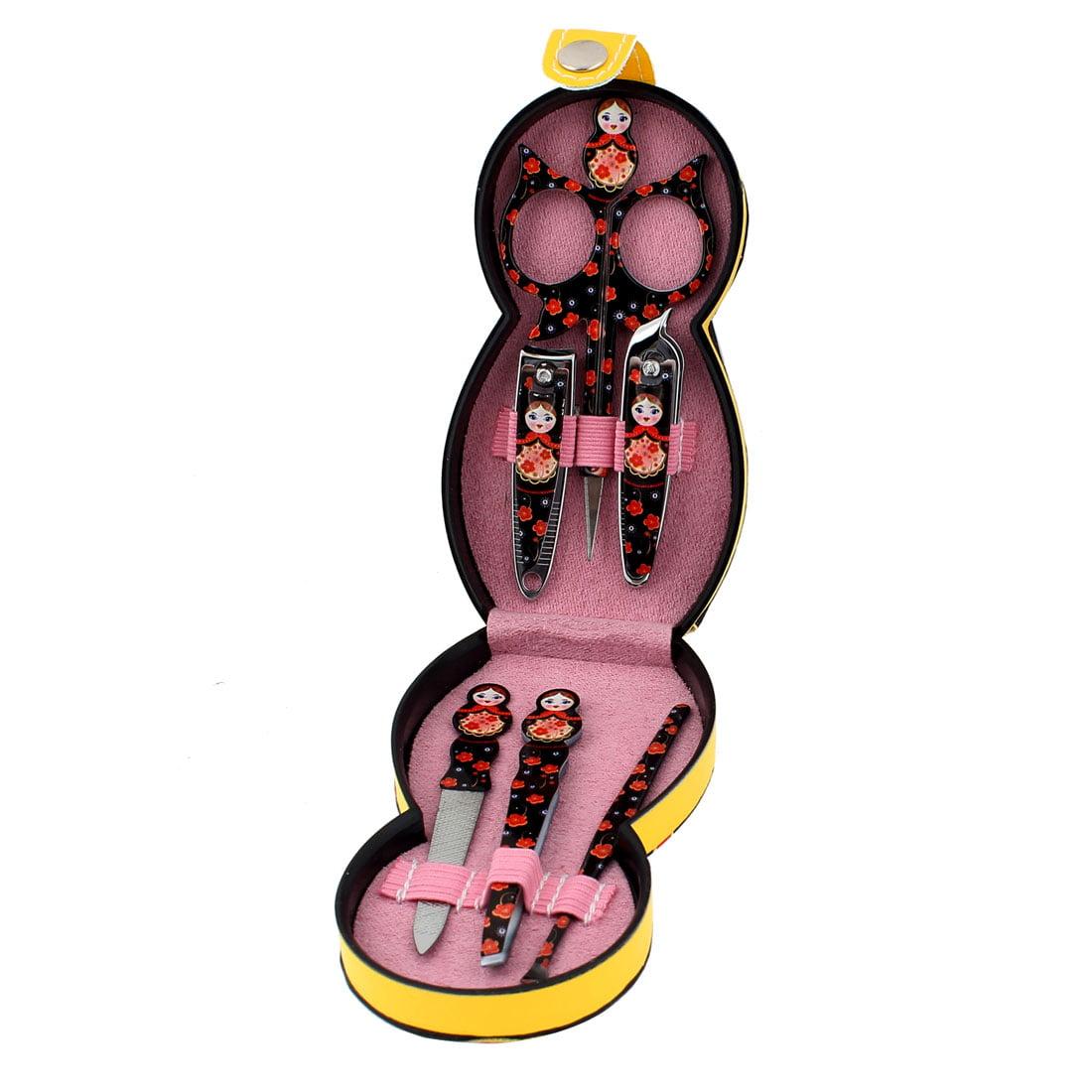 Unique Bargains Black Russian Doll Pattern Manicure Tool Scissor Nail Clipper File Set 6 in 1